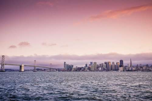 San Francisco Evening Skyline and Bay Bridge at Sunset