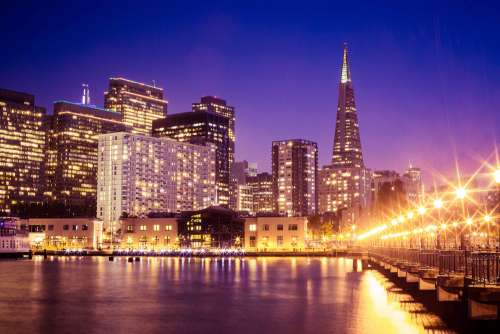Wonderful San Francisco Skyscrapers Cityscape From Pier at Night