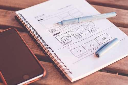 Sketching Webdesign Layout Wireframe Ideas