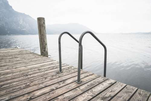 Swimming Wooden Pontoon with Ladder At Lake