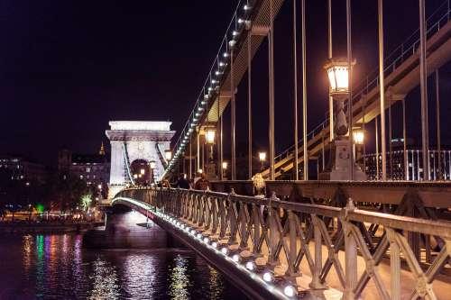 Széchenyi Chain Bridge in Budapest at Night