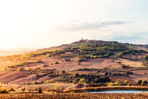 Sunset Over the Pienza Town in Tuscany (Val d'Orcia), Italy