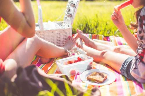 Two Girls Enjoying First Summer Picnic in Nature