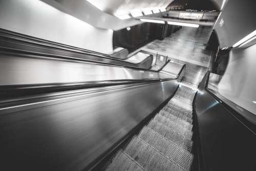 Underground Subway Escalator in Hypnotic Motion
