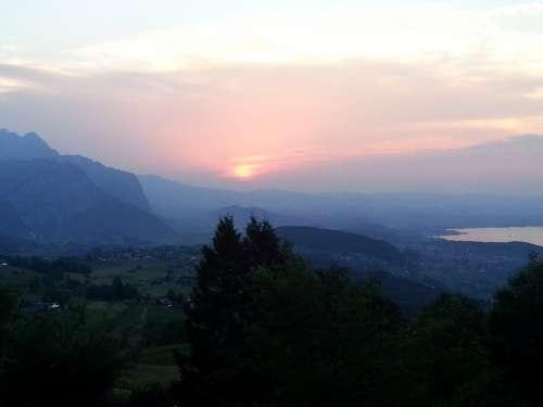 Abendstimmung Sunset Sky Romance Panorama Thuersee