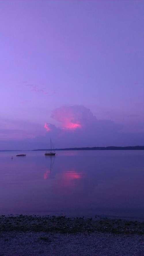 Abendstimmung Sunset Mirroring Rest Reflex Sail