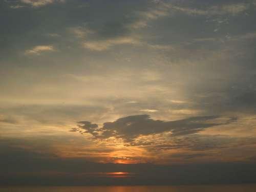 Abendstimmung Sunset Clouds Sea Setting Sun Sun