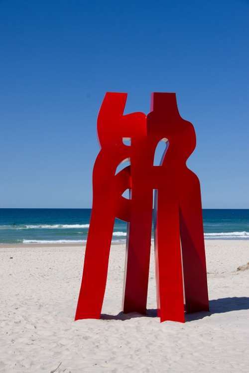 Abstract Sculpture Art Red Standing Contemporary