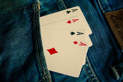 Ace Cards Jeans Blue Pocket Fashion Clothing