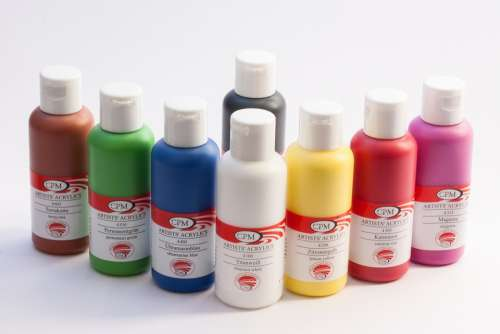 Acrylic Paints Color Bottles Colorful White Yellow