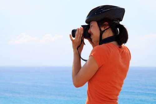 Action Active Activity Blue Cyclist Helmet Human