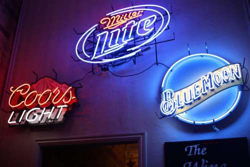 Advertisement Bar Beer Miller Lite Colors Light