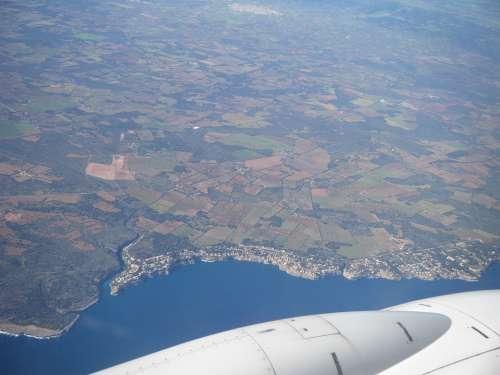 Aerial View The Plane Flight Land Sky Airfare