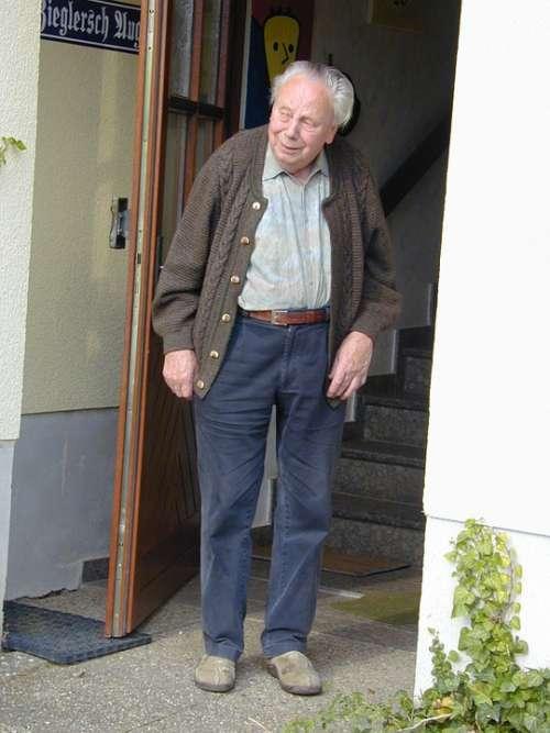 Age Man Grandpa Door