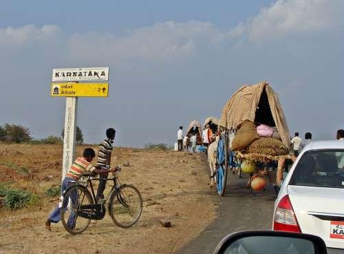Aihole Road Karnataka Bullock Cart Rural India