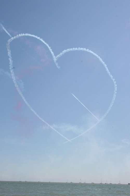 Aircraft Heart Figure Air Show Sea England