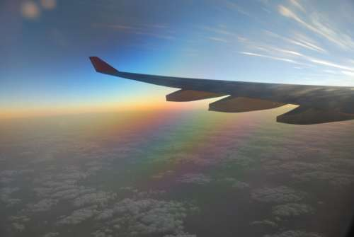 Airplane Wing Clouds Sunrise Blue Horizon