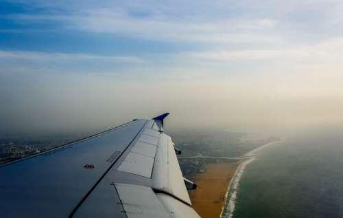 Airplane Wing Airplane Window Plane Beach