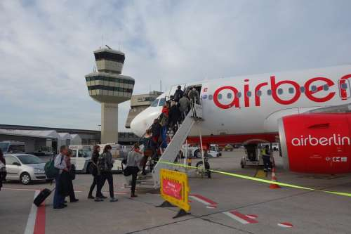 Airport Airberlin Airliner Aircraft Gangway Entry