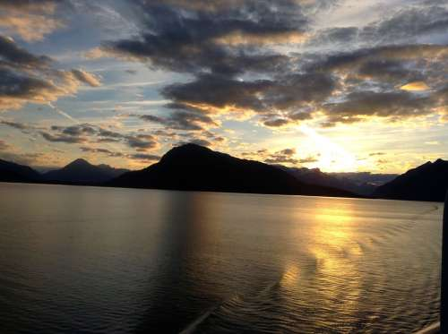 Alaska Sunset Nature Travel Sky Water Landscape