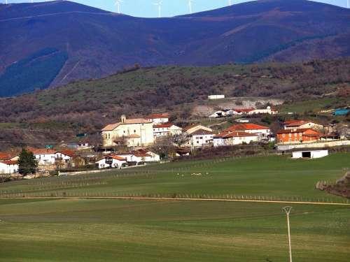 Alava Spain Landscape Village Town Mountains