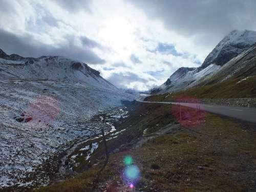 Albula Pass Alpine Winter Autumn Switzerland Snow