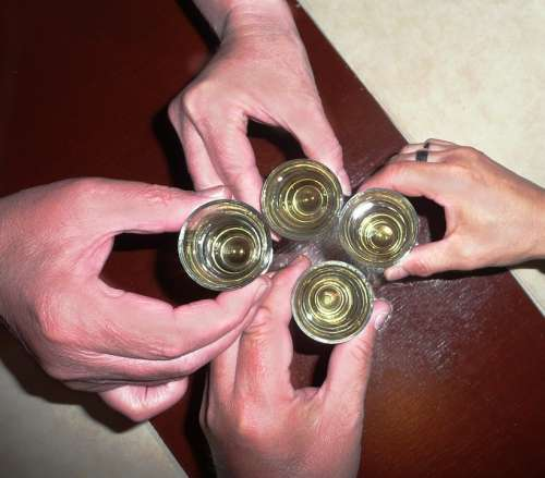 Alcohol Brandy Prost To Well Abut Hands