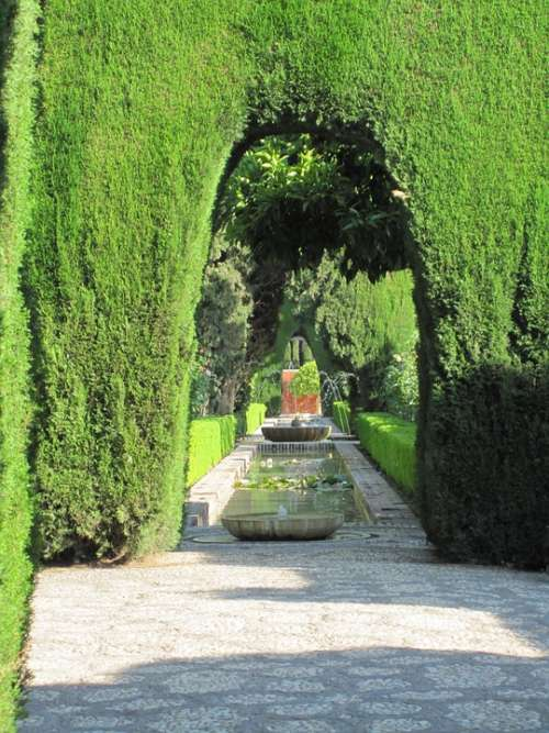 Alhambra Fountain Water Garden Hedges Green Hedge