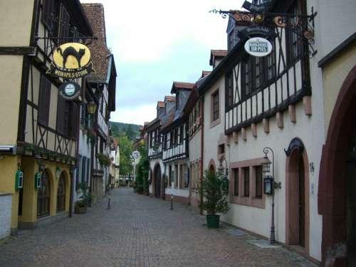 Alley Fachwerkhäuser Neustadt Palatinate