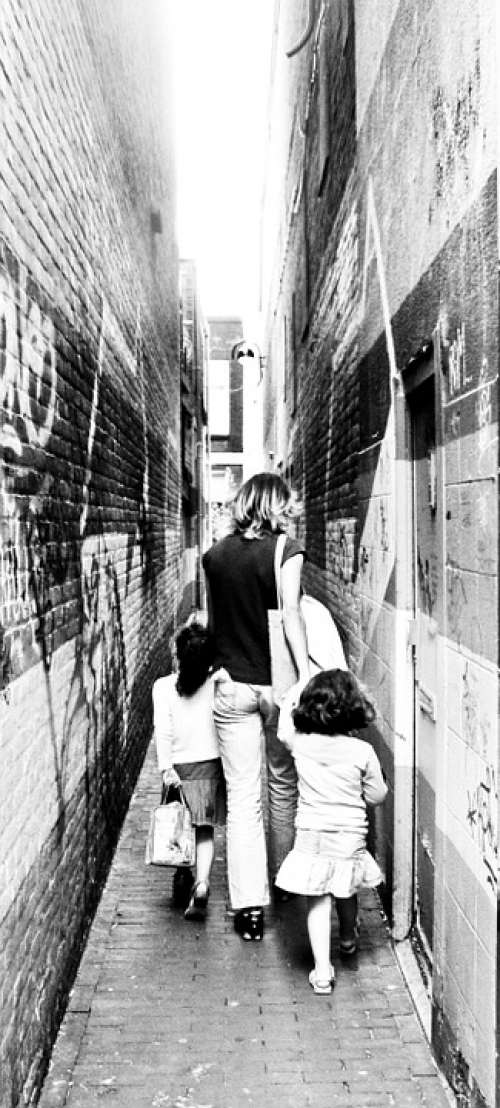 Alley Narrow Mother Children Street Small People