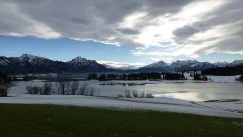 Allgäu Lake Forggensee Winter Snow Ice Weather