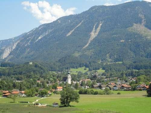 Alpine Village Mountains Meadow Nature Silent
