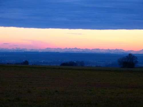 Alpine Mountains Evening Sky Hair Dryer