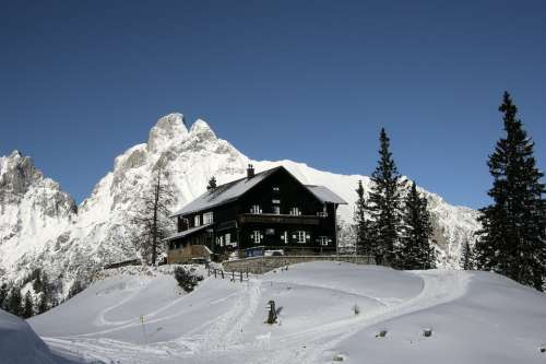 Alpine Mountains Refuge Winter Mountain Hut