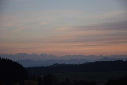 Alpine Sunset Mountains Sky Evening Sky Evening