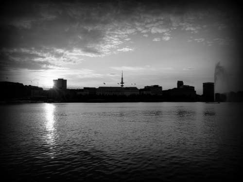 Alster Black And White Hamburg