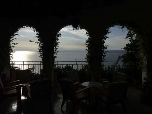 Amalfi Arches Restaurant Italy Summer Water Sea