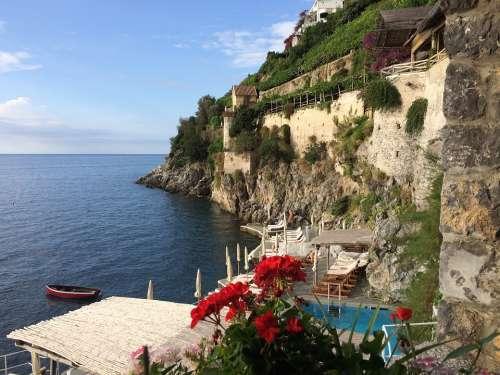 Amalfi Italy Coast Landscape Cliff Shore Village