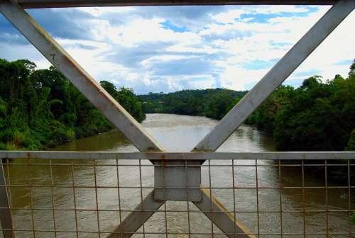Amazon Bridge River Sunset Water Landscape Calm