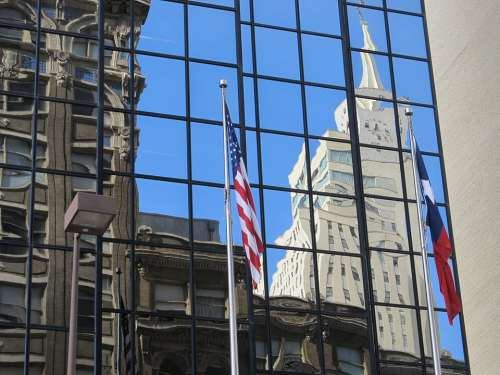 American Flag Flag Downtown Glass Facade