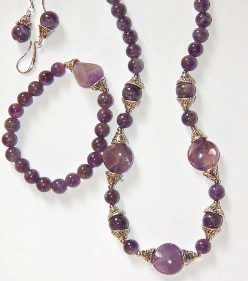 Amethyst Necklace Bracelet Fashion Jewelry