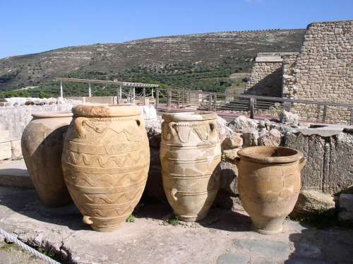 Amphora Knossos Crete Greece Vacations Antiquity