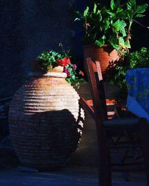 Amphora Ceramic Potty Flowers Arrangement Chair