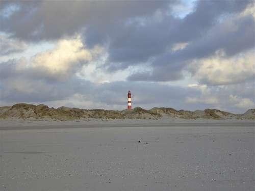 Amrum Beach Island Wide Lighthouse Sky