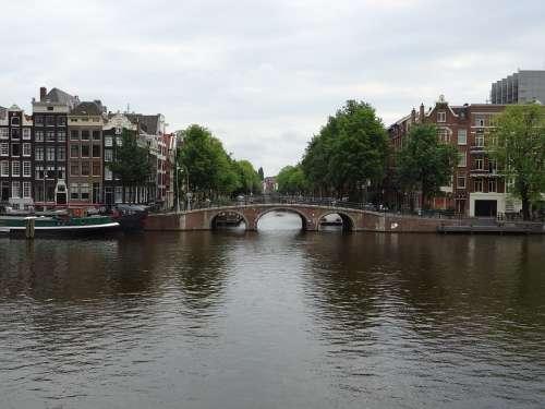 Amsterdam Netherlands Holland Bridge Water River