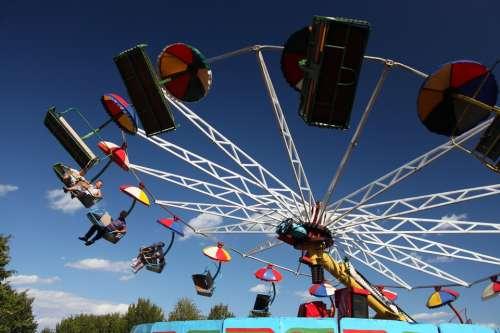 Amusement Blue Carousel Sky Swing Umbrellas Wave