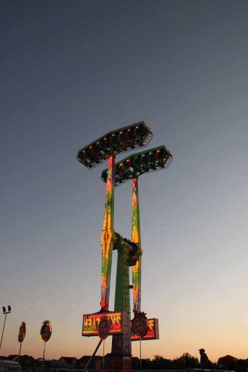Amusement Carousel Fun Lights Night Park Ride