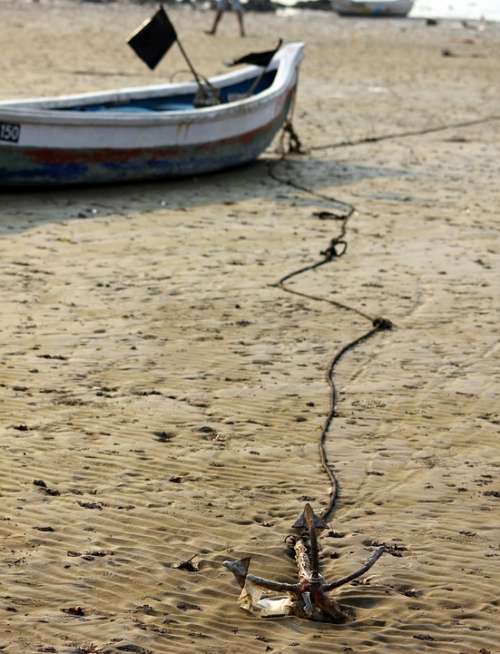 Anchor Boat Sand Beach Dry Low Tide