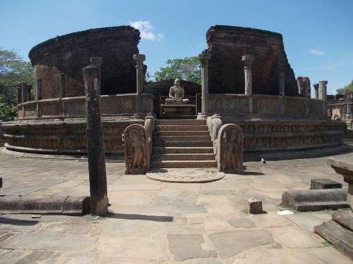 Ancient Ruins Stones Stone Sri Lanka Polonnaruwa