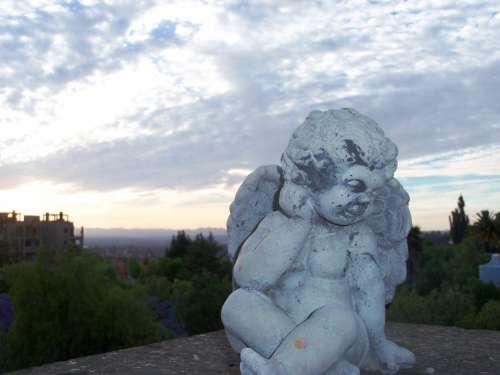 Angel Sunset Sculpture Landscape Baby Cloud